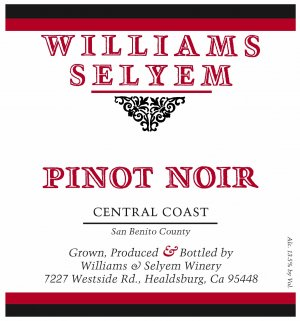2018 Williams Selyem Pinot Noir Central Coast
