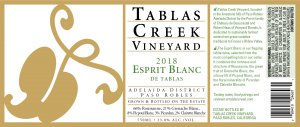 2018 Tablas Creek Esprit de Tablas Blanc 375 ml