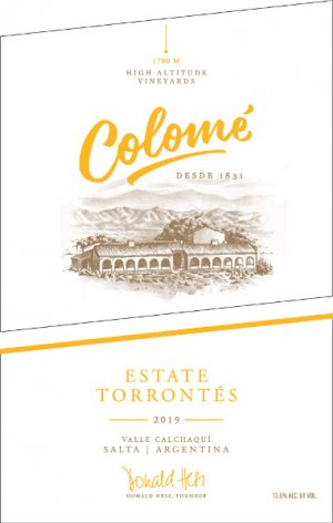 2019 Bodega Colome Torrontes Estate High Altitude Vineyards