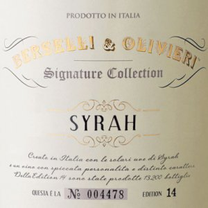 2014 Berselli & Olivieri Syrah Signature Collection