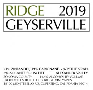 2019 Ridge Geyserville Proprietary Red Blend