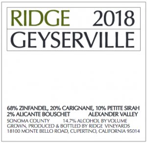 2018 Ridge Geyserville Proprietary Red 1.5 L