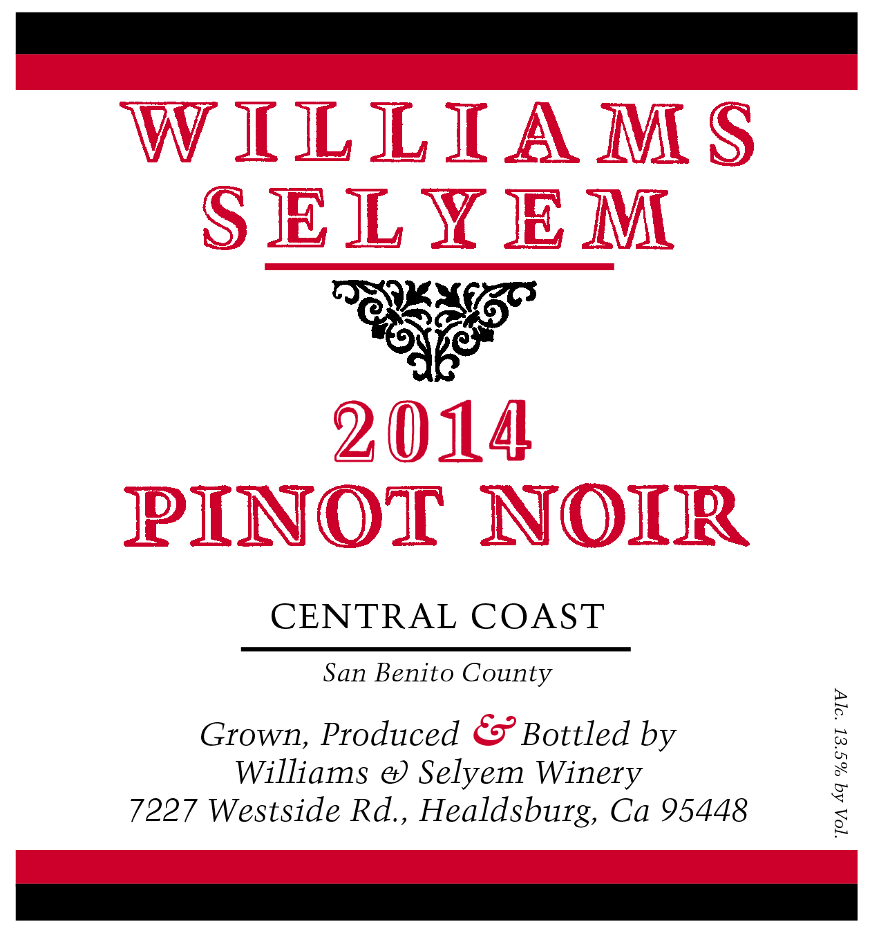 2015 Williams Selyem Pinot Noir Central Coast