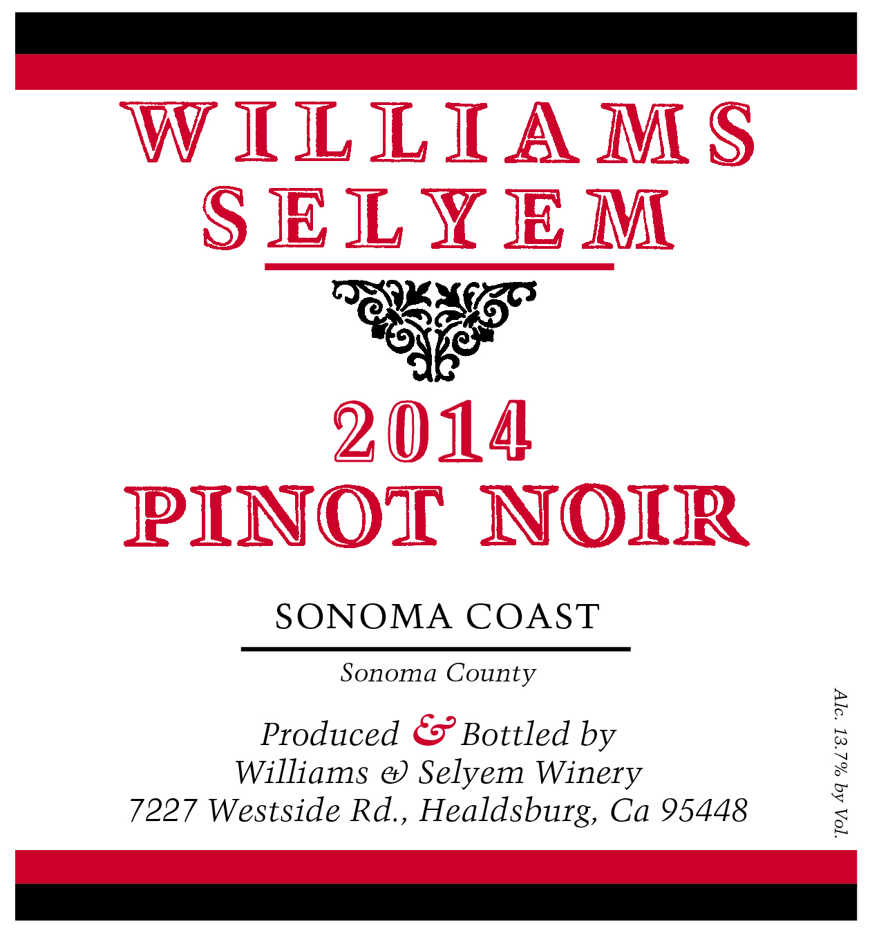 2015 Williams Selyem Pinot Noir Sonoma Coast