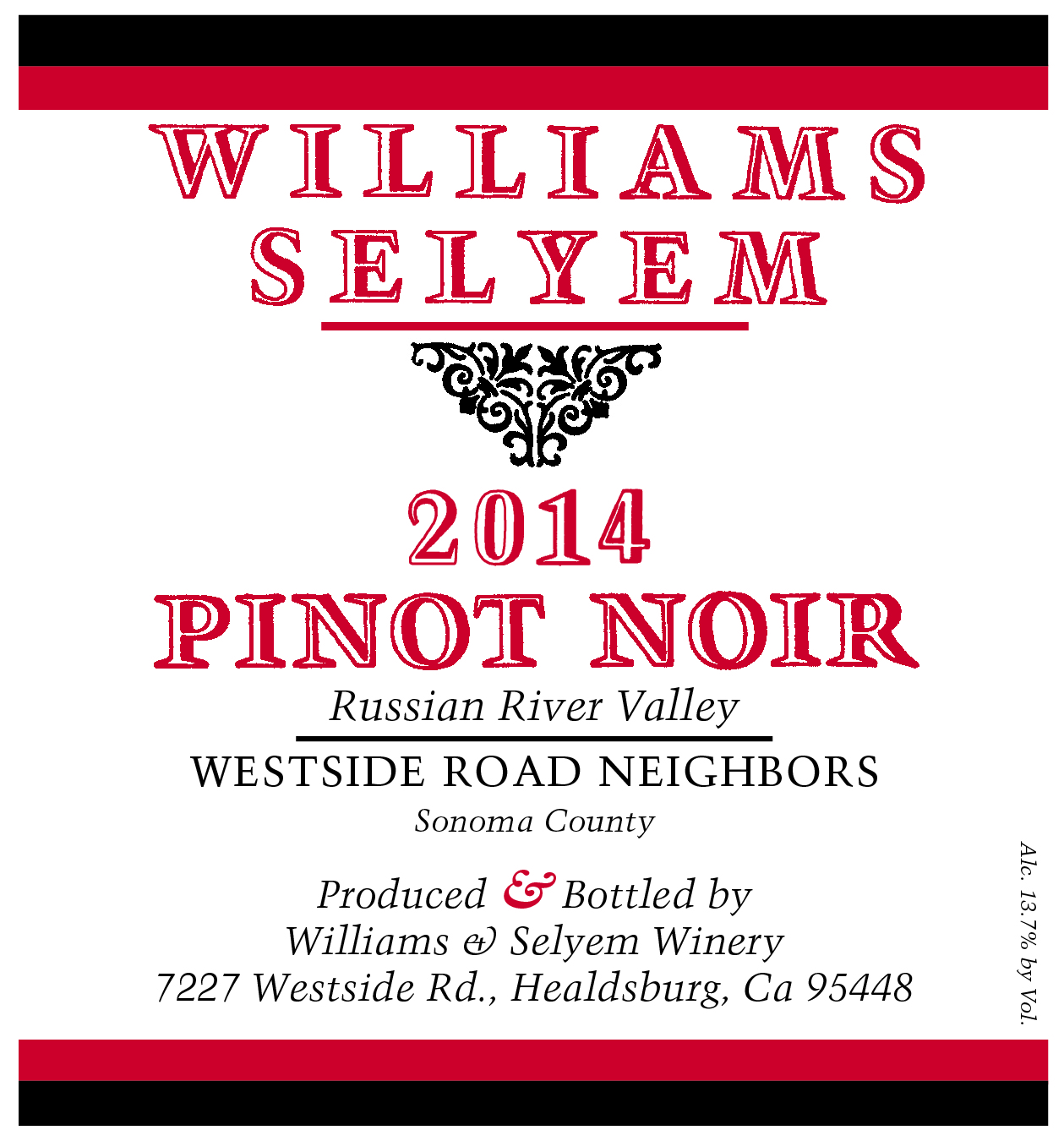 2015 Williams Selyem Pinot Noir Westside Road Neighbors