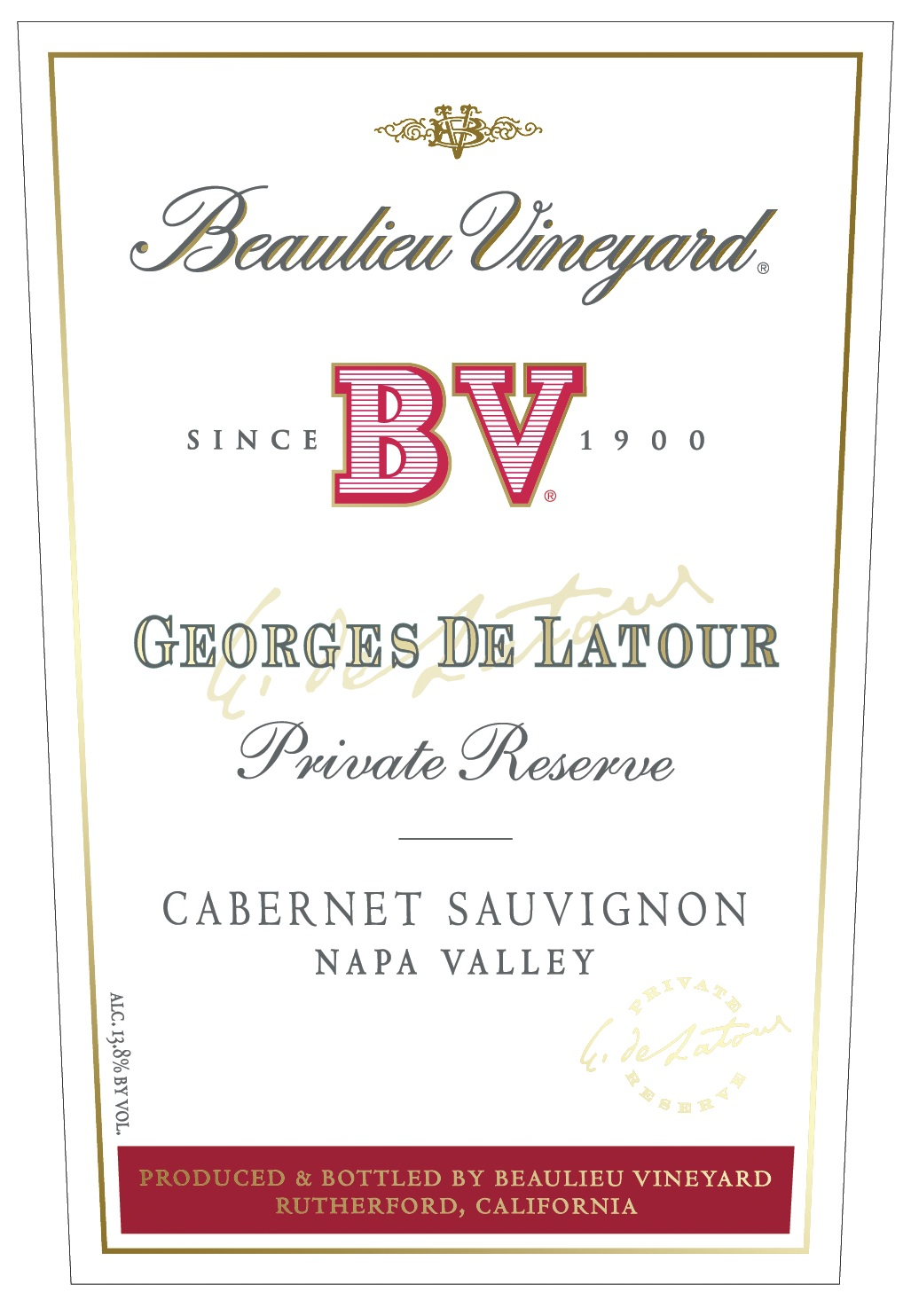 2014 Beaulieu Vineyards (BV) Cabernet Sauvignon Georges de Latour Private Reserve