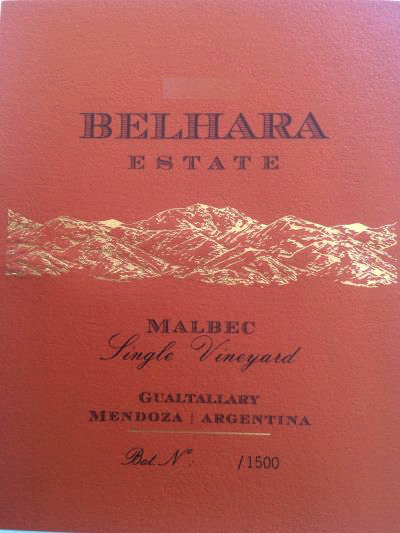2016 Belhara Estate Malbec Single Vineyard
