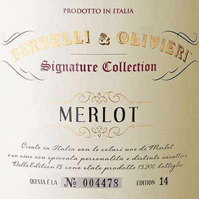 2013 Berselli & Olivieri Merlot Signature Collection