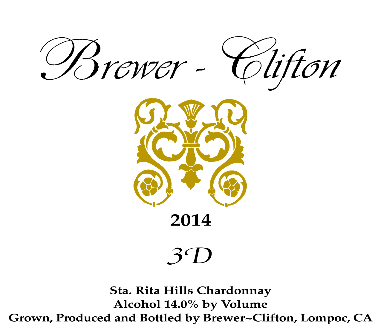 2014 Brewer-Clifton Chardonnay 3 D Vineyard