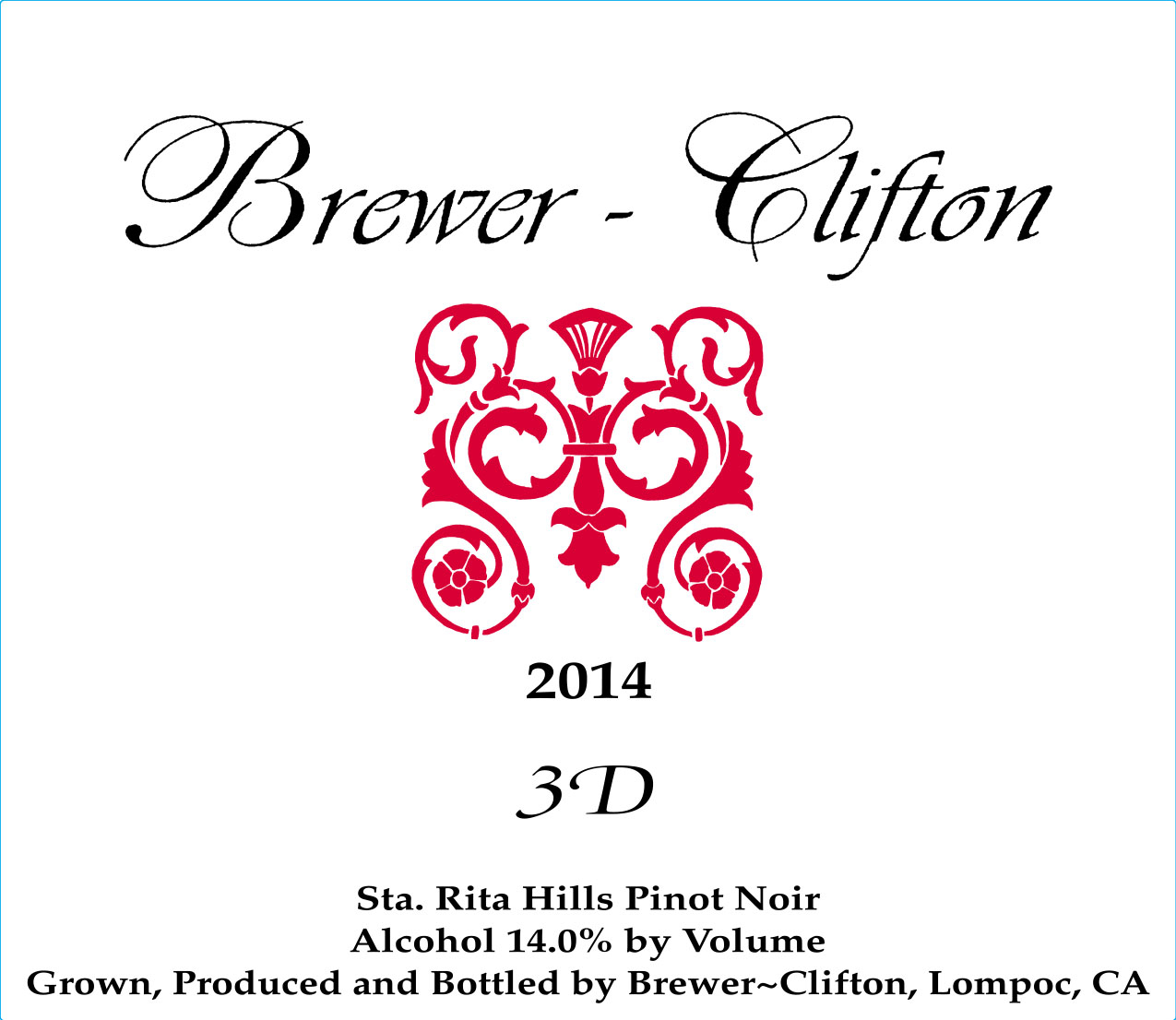 2014 Brewer-Clifton Pinot Noir 3 D Vineyard