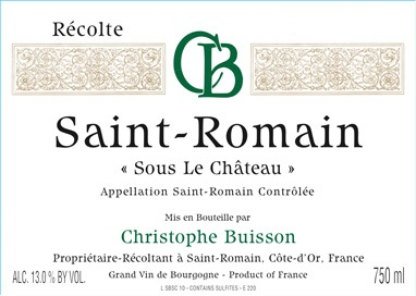 2015 Christophe Buisson Saint-Romain Blanc