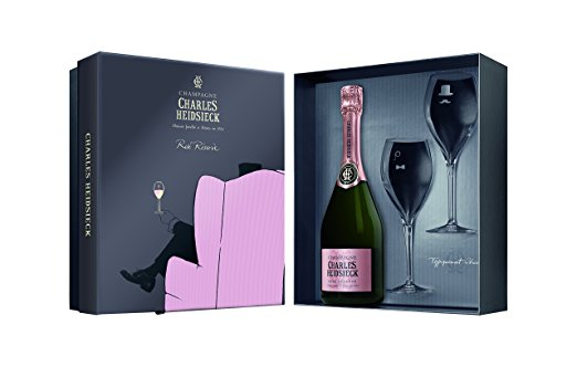 Charles Heidsieck Brut Rose Reserve Gift Pack with Two Flutes