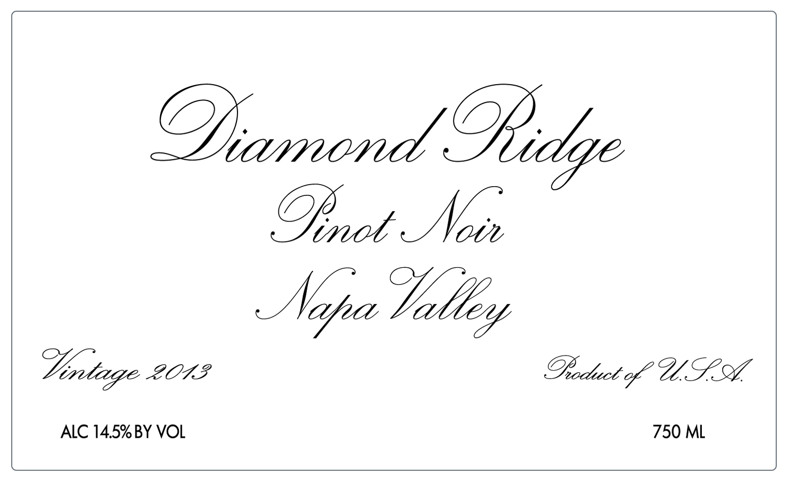 Diamond Ridge Pinot Noir Napa
