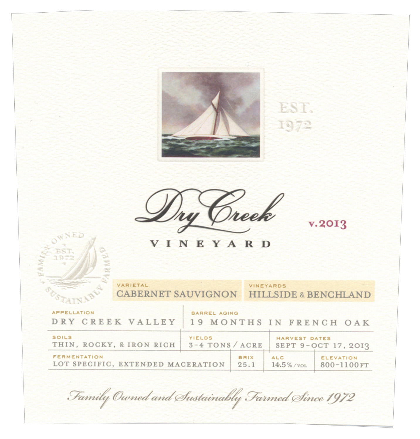 Dry Creek Vineyard Cabernet Sauvignon Hillside and Benchland Vineyards 375 ml