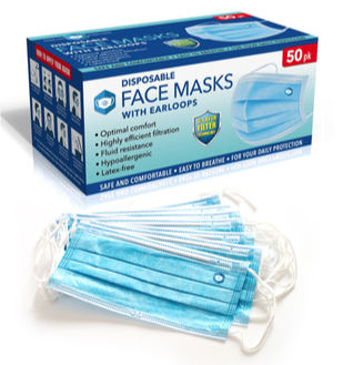Mask 3 Ply Disposable Face Mask Box of 50