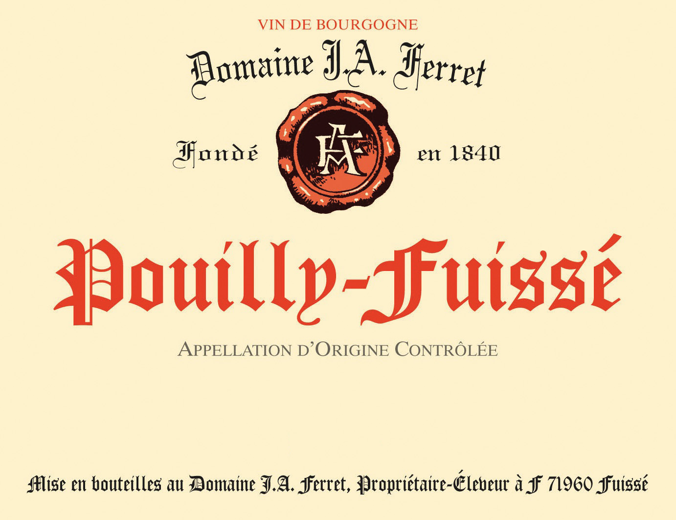 2015 Domaine J. A. Ferret Pouilly-Fuisse 375 ml