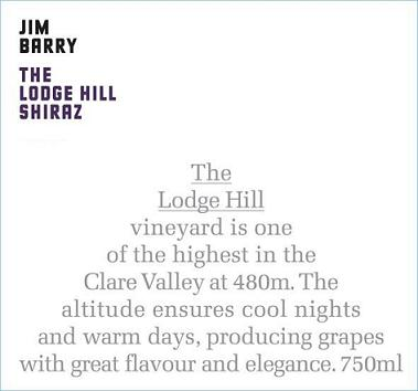 2014 Jim Barry Shiraz The Lodge Hill
