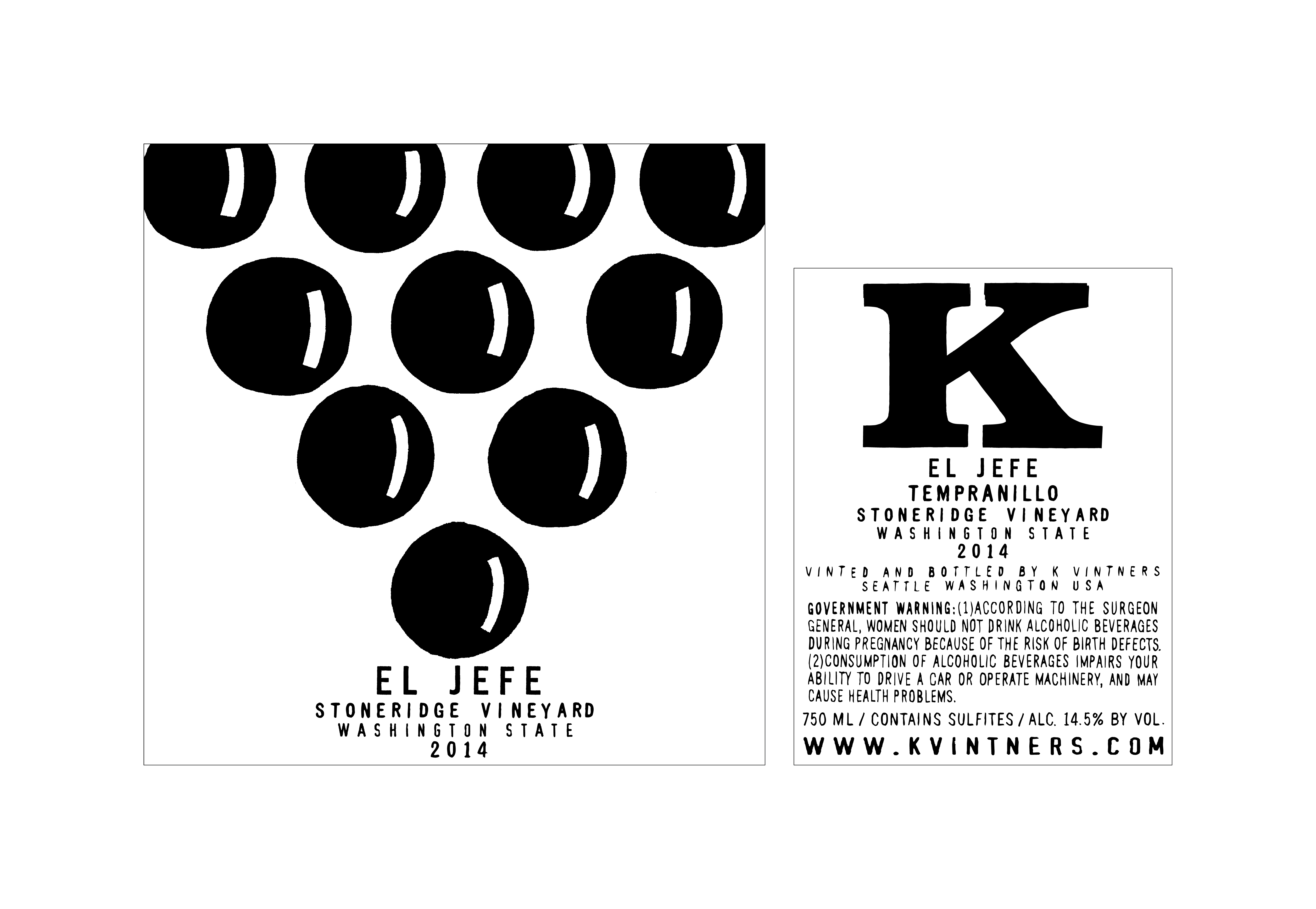 2014 K Vintners Tempranillo El Jefe Stoneridge Vineyard