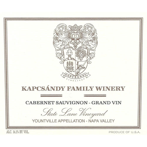Kapcsandy Family Winery Cabernet Sauvignon Grand Vin State Lane Vineyard