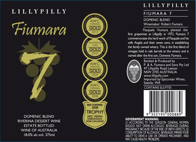 N.V. Lillypilly Fortified Fiumara 7 Sweet Red Blend 375 ml