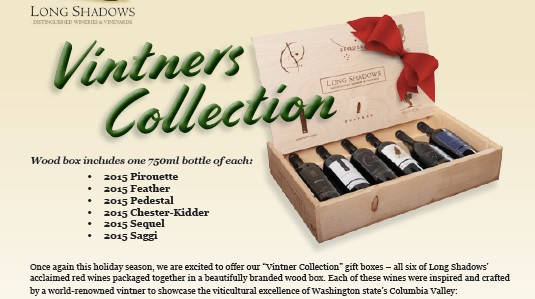 2015 Long Shadows Vintners Collection Six Bottle Gift Set in Wood Box