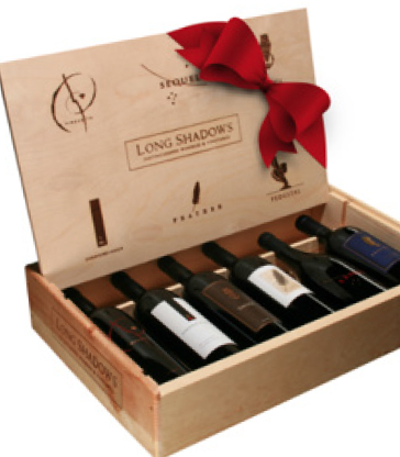 Long Shadows Vintners Collection Six Bottle Gift Set in Wood Box