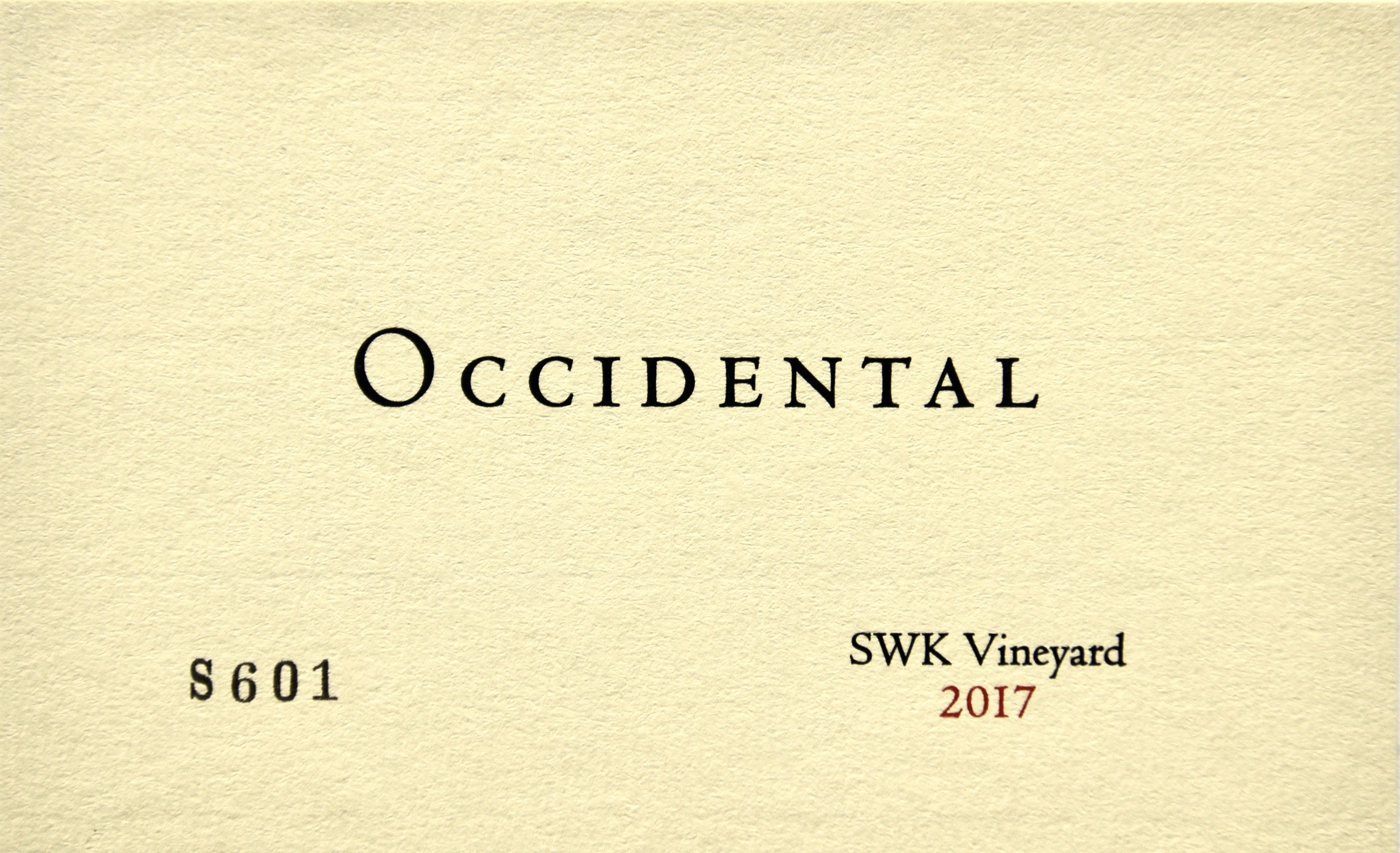 2017 Occidental Pinot Noir SWK Vineyard