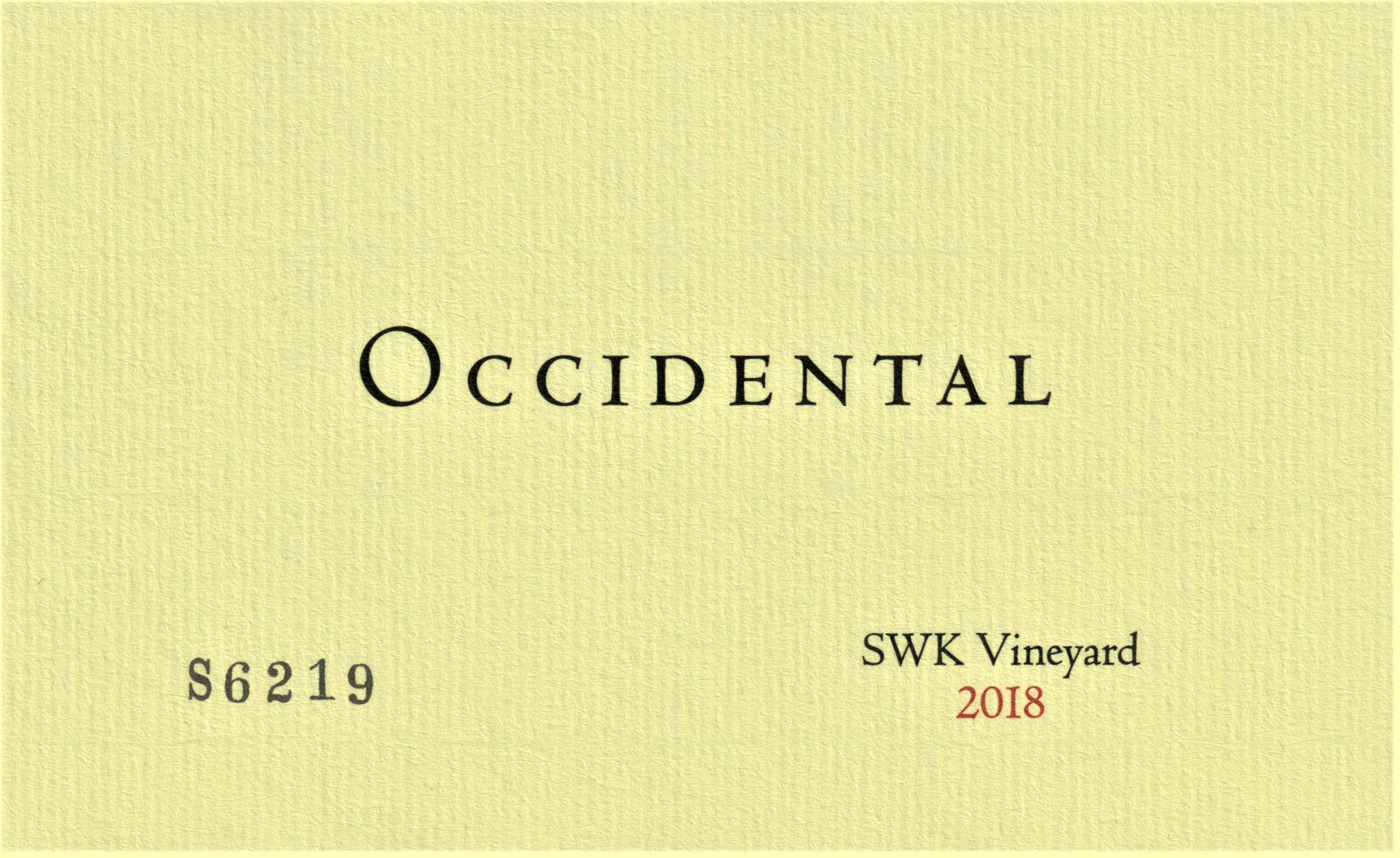 2015 Occidental Pinot Noir SWK Vineyard
