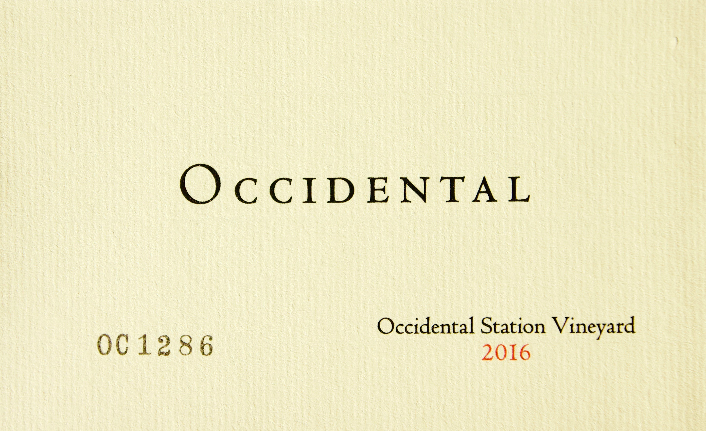 2016 Occidental Pinot Noir Occidental Station Vineyard