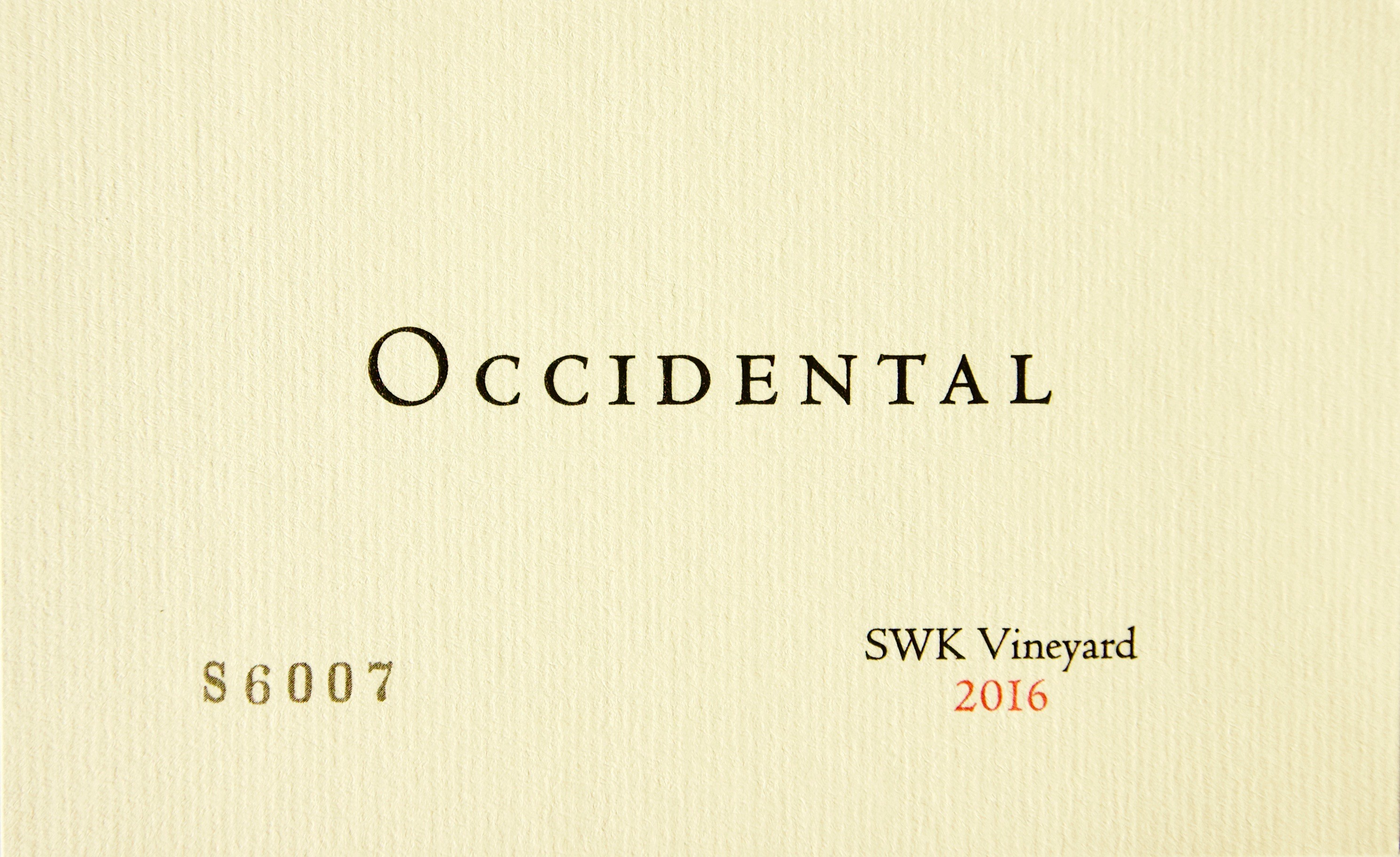 2016 Occidental Pinot Noir SWK Vineyard