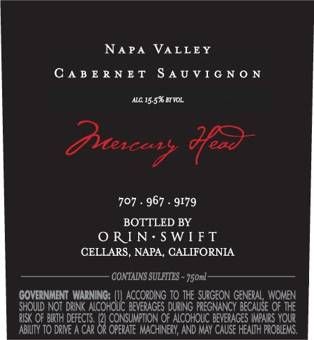 Orin Swift Cabernet Sauvignon Mercury Head