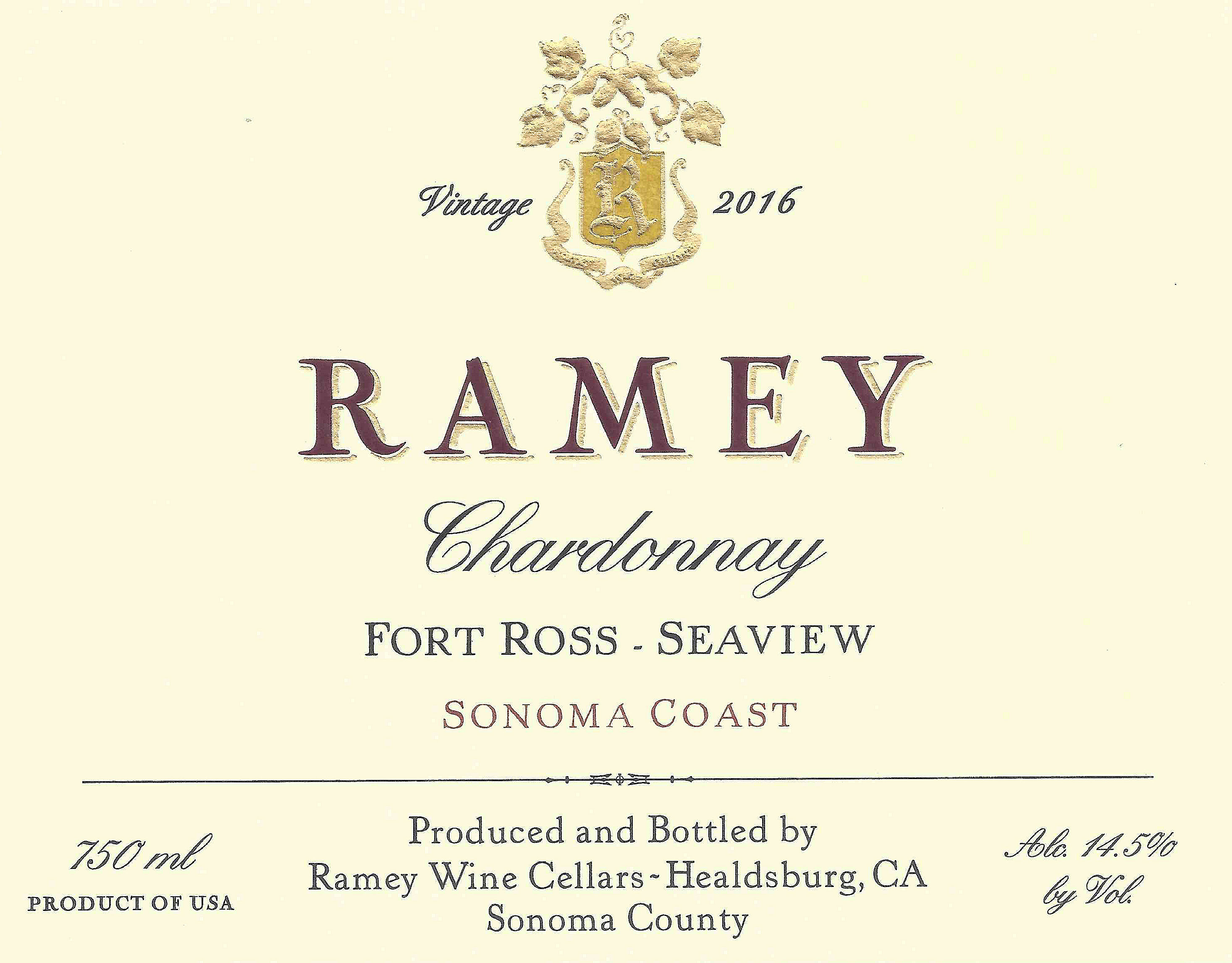 2016 Ramey Chardonnay Fort Ross-Seaview