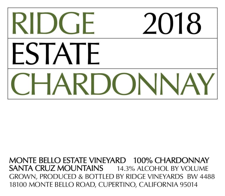 2018 Ridge Chardonnay Estate Monte Bello Vineyard