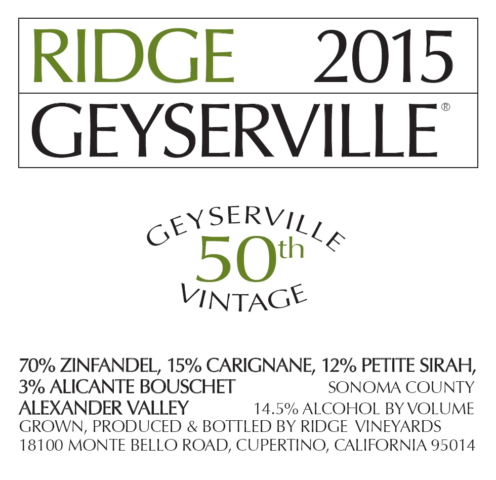 2015 Ridge Zinfandel Geyserville 50th Vintage 375 ml