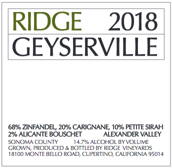2018 Ridge Geyserville Proprietary Red 3.0 L