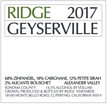 2017 Ridge Geyserville Proprietary Red