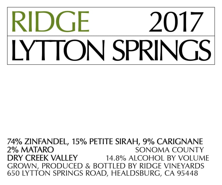 2017 Ridge Lytton Springs