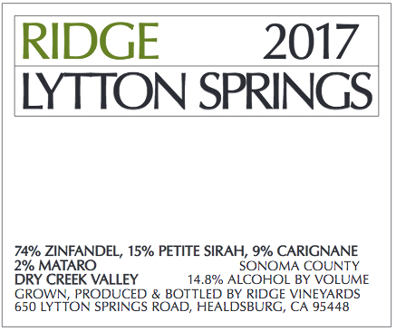 2016 Ridge Zinfandel Lytton Springs