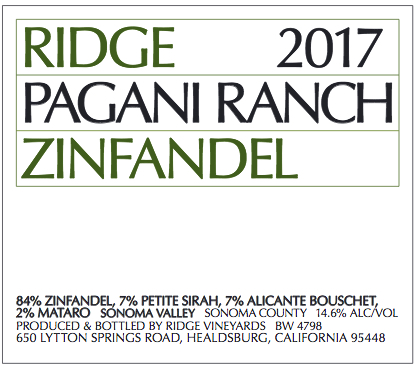 Ridge Zinfandel Pagani Ranch