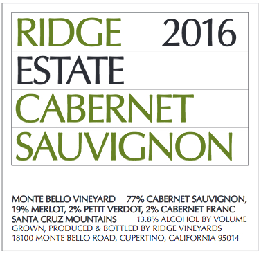 Ridge Cabernet Sauvignon Estate Monte Bello Vineyard
