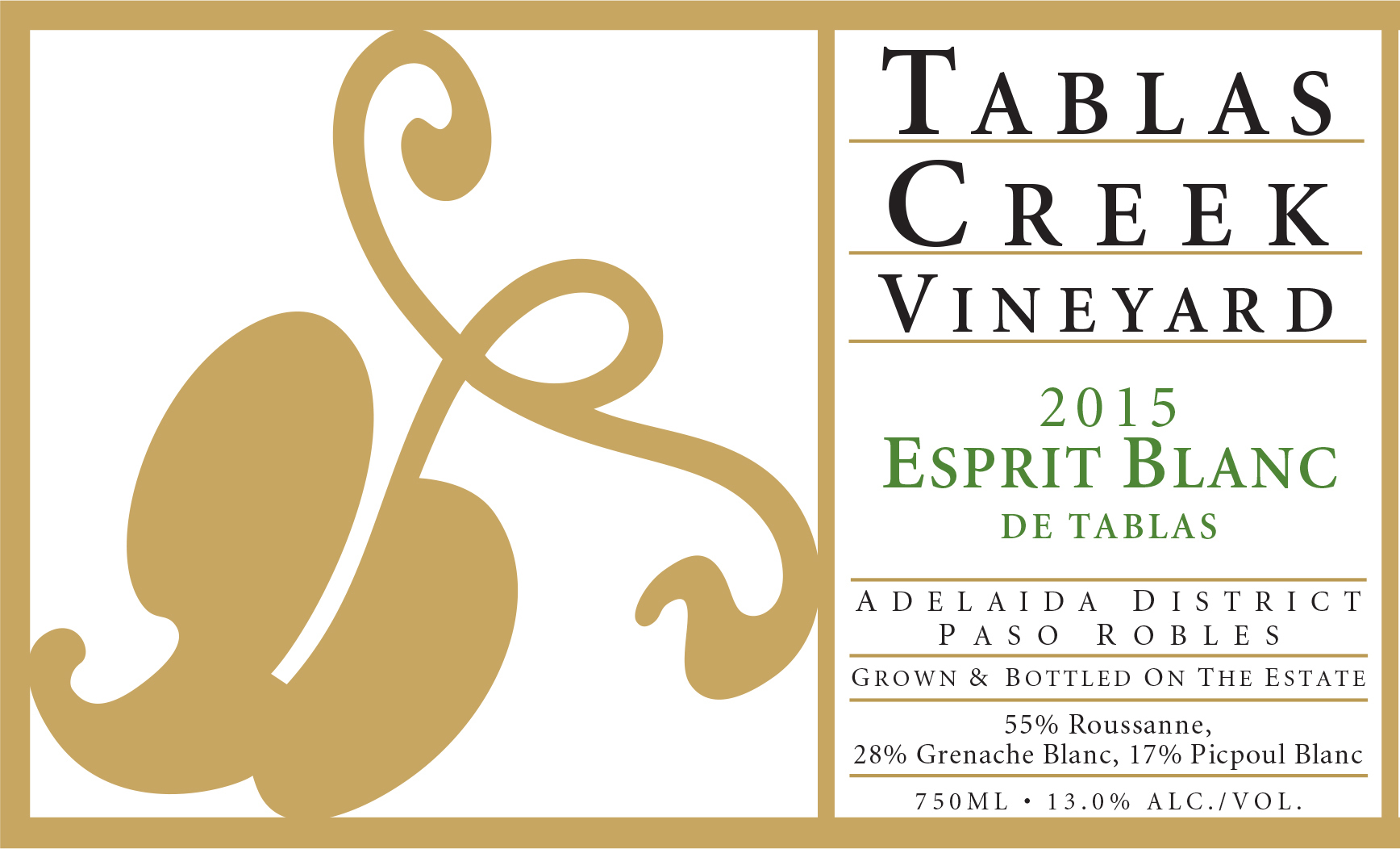 2015 Tablas Creek Esprit de Tablas Blanc 375 ml