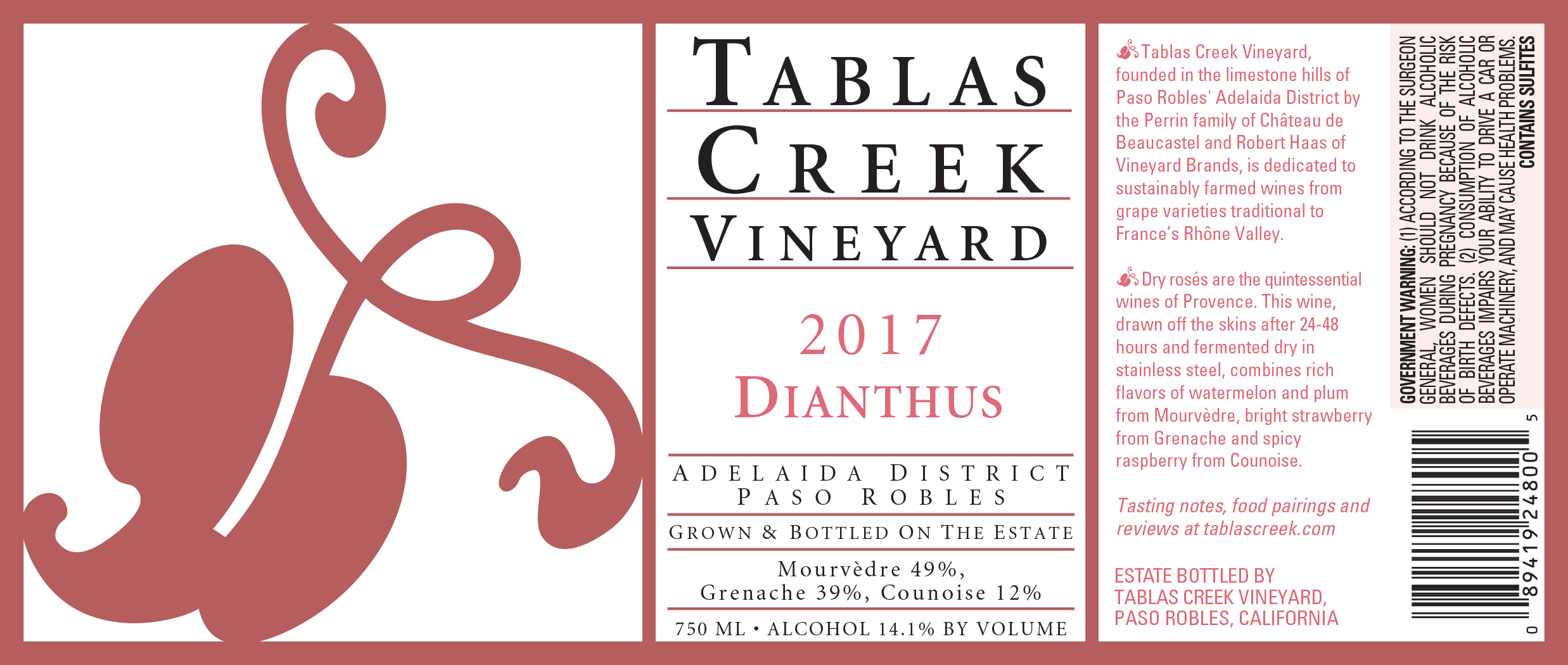 2016 Tablas Creek Rose Dianthus
