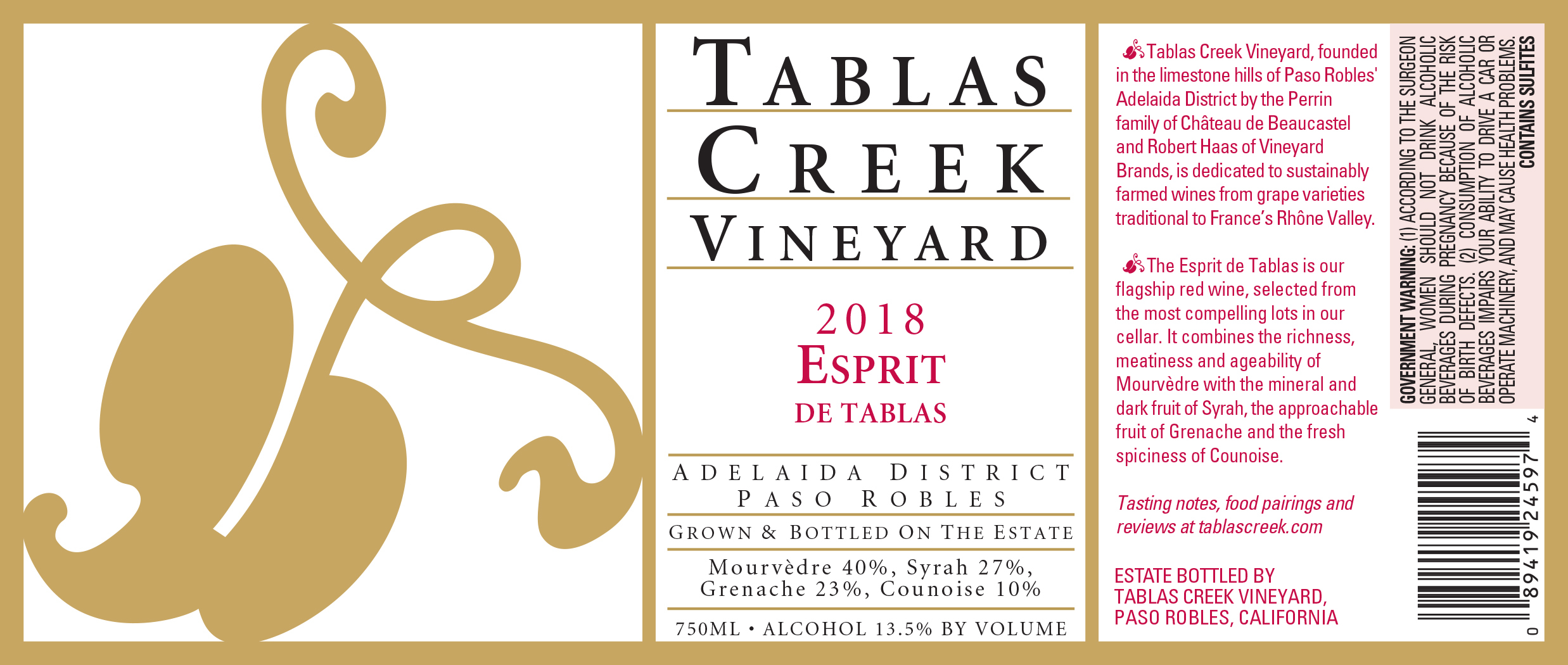 2015 Tablas Creek Esprit de Tablas Rouge 375 ml