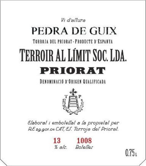 2015 Terroir Al Limit Priorat Pedra de Guix Blanc