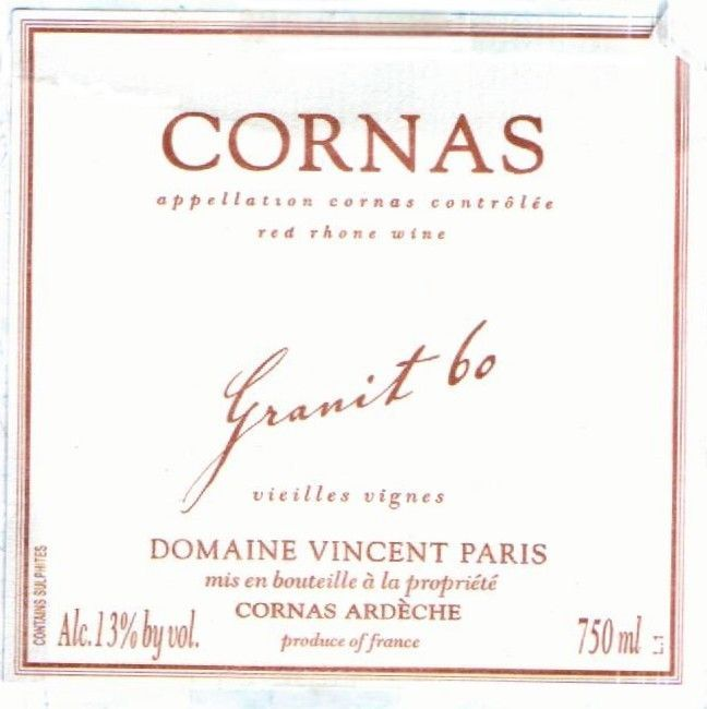 2016 Vincent Paris Cornas Granit 60