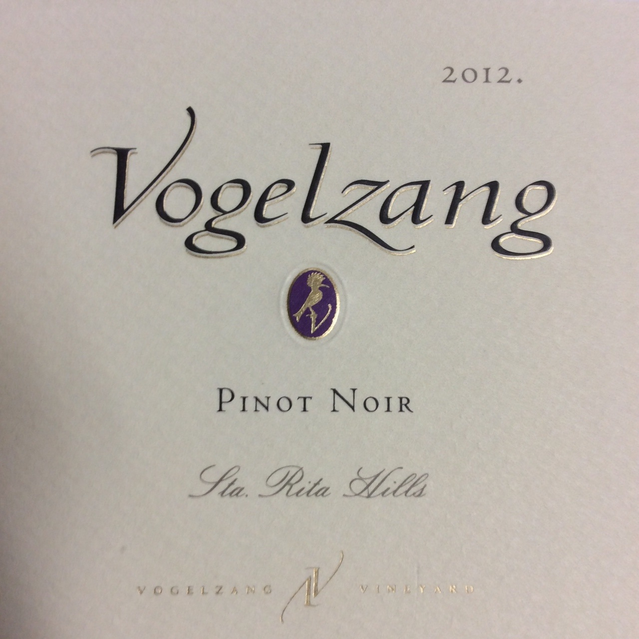 Vogelzang Vineyard Pinot Noir Fiddlestix Vineyard